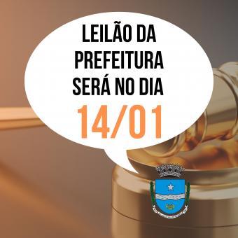 Leilão da Prefeitura será no dia 14/01.