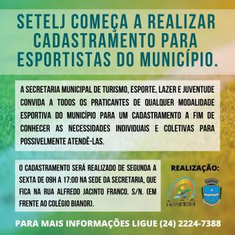 SETELJ começa a realizar cadastramento para esportistas do município.