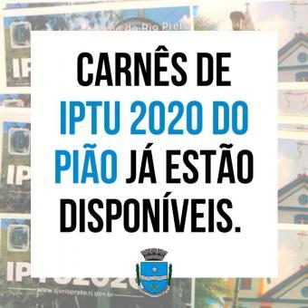 Carnês de IPTU 2020 do Pião já estão disponíveis.