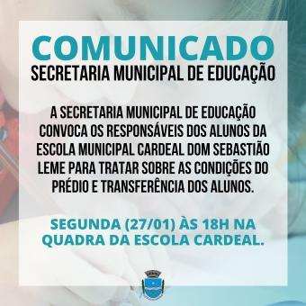 Comunicado da Secretaria Municipal de Educação.