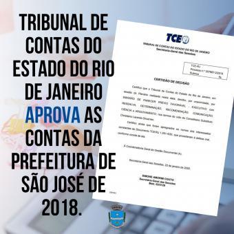 Tribunal de Contas do Estado do Rio de Janeiro aprova as contas da prefeitura de São José de 2018.