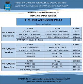Cronograma da Educação para retirada do kit alimentação é divulgado.
