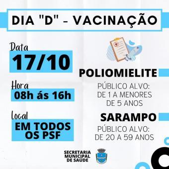 """Vem aí o dia """"D"""" de vacinação contra a Poliomielite e o Sarampo. Não fiquei de fora!"""