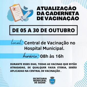 Secretaria de Saúde realiza atualização da caderneta de vacinação.