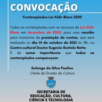 Convocação - Lei Aldir Blanc - Ano 2020